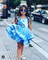 Kız Çocuk Mavi Kelebekli Abiye