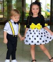 Kız Çocuk Siyah Sarı Fiyonklu Elbise