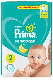 Prima Yeni Doğan 2 Numara 58 Adet Bebek Bezi 4 8 Kg
