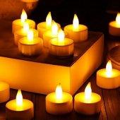 10 Adet Led Işıklı Mum Pilli Ateş Görünümünde...