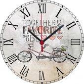 Bisiklet Tem. 3 Baskılı Akar Saniye Ahşap Duvar Saati