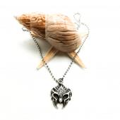 Savaşçı Miğferi Figürlü Gümüş Renk Top Zincirli Kolye