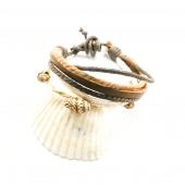 Deniz Kabuğu Figürlü Kahverengi Renk Boncuklu Ve Örgülü Model Asansör Ayarlanabilir Bileklik