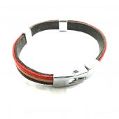 Metal Yüzey Çapa Geçmeli Model Kırmızı Siyah Ve Açık Tonlu Renkler Karışımı Deri Bileklik