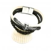 Kartal Figürlü Siyah Beyaz Renk Ve Kahverengi Sarmal Derili Model Bileklik
