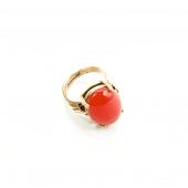 Kırmızı Ceyt Doğal Taşlı Gold Renk Ayarlanabilir Yüzük