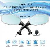 Angeleye Motosiklet Çift Araç Kamerası Yan Ayna Şe...