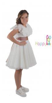 Kısa Beyaz Kayık Yaka Yakası Güpürlü Beli Kuşaklı Elbise