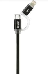 Mikro İphone 2in1 Usb Data Şarj Kablosu Işıklı Sunix Sc11