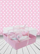 Yeni Doğan Hoş Geldin Bebek Hediyesi Yatay Şeffaf Kutulu (Kız)