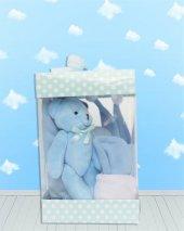 Yeni Doğan Hoş Geldin Bebek Hediyesi Dikey Şeffaf Kutulu (Erkek)