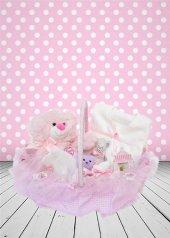 Yeni Doğan Hoş Geldin Bebek Hediyesi 5 Li Kulplu Sepet (Kız)