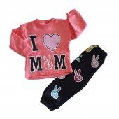 Kız Erkek Bebek I Love Mom Yazılı Eşofman Takım 3 9 Ay Pembe C73233 4