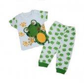 Kız Erkek Bebek Kurbağalı Pijama Takımı 3 9 Ay Yeşil C73347
