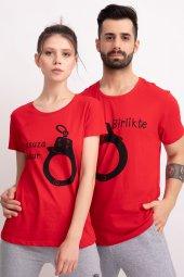Sevgili Kombinleri Kırmızı Kısa Kol Tshirt Sonsuza Kadar-2