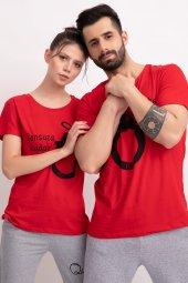 Sevgili Kombinleri Kırmızı Kısa Kol Tshirt Sonsuza Kadar-3