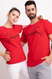 Sevgili Kombinleri Kırmız Kısa Kol Tshirt Kalp Ritmi