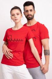 Sevgili Kombinleri Kırmız Kısa Kol Tshirt Kalp Ritmi-3