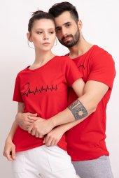 Sevgili Kombinleri Kırmız Kısa Kol Tshirt Kalp Ritmi-4