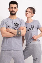 Sevgili Kombinleri Gri Kısa Kol Bicycle Yaka Tshirt King Queen