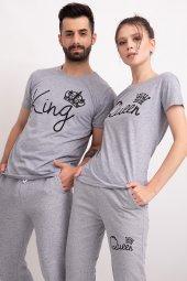Sevgili Kombinleri Gri Kısa Kol Bicycle Yaka Tshirt King Queen-2