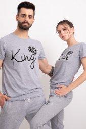 Sevgili Kombinleri Gri Kısa Kol Bicycle Yaka Tshirt King Queen-3