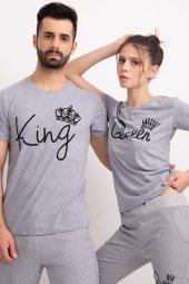 Sevgili Kombinleri Gri Kısa Kol Bicycle Yaka Tshirt King Queen-4