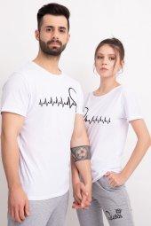 Sevgili Kombinleri Beyaz Kısa Kol Bicycle Yaka Tshirt Kalp Ritmi-2