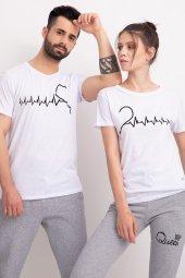 Sevgili Kombinleri Beyaz Kısa Kol Bicycle Yaka Tshirt Kalp Ritmi-3