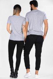 Sevgili Kombinleri Gri Kısa Kol V Yaka Basic Tshirt-2