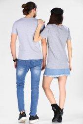 Sevgili Kombinleri Gri Kısa Kol V Yaka Basic Tshirt-5