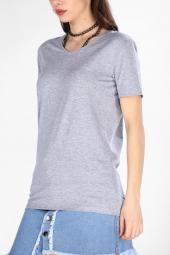 Sevgili Kombinleri Gri Kısa Kol V Yaka Basic Tshirt-6
