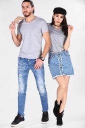 Sevgili Kombinleri Gri Kısa Kol V Yaka Basic Tshirt-7