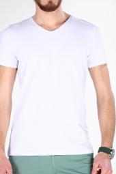 Sevgili Kombinleri Beyaz Kısa Kol V Yaka Basic Tshirt-2