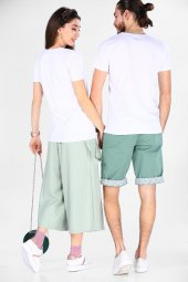 Sevgili Kombinleri Beyaz Kısa Kol V Yaka Basic Tshirt-3