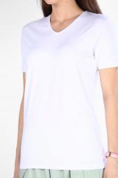 Sevgili Kombinleri Beyaz Kısa Kol V Yaka Basic Tshirt-4