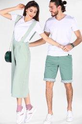 Sevgili Kombinleri Beyaz Kısa Kol V Yaka Basic Tshirt-5