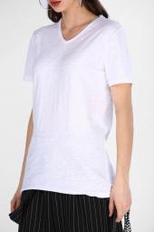 Sevgili Kombinleri Beyaz Kısa Kol V Yaka Basic Tshirt-6