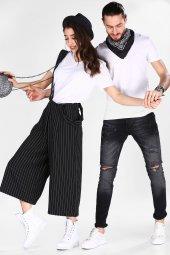 Sevgili Kombinleri Beyaz Kısa Kol V Yaka Basic Tshirt-7