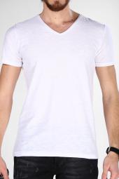 Sevgili Kombinleri Beyaz Kısa Kol V Yaka Basic Tshirt-8