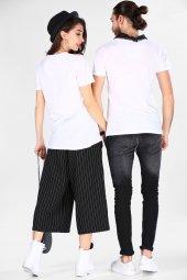 Sevgili Kombinleri Beyaz Kısa Kol V Yaka Basic Tshirt-9
