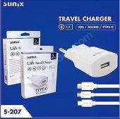 Sunix S 207 İphone 2 Amper Ev Tipi Şarj Cihazı Set