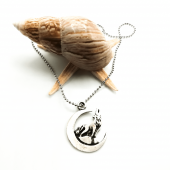 Hilal Bozkurt Figürlü Gümüş Renk Top Zincirli Kolye