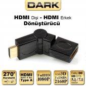 Dark Hdmı Dişi Hdmı Erkek 270 Derece Dönüştürücü Dirsek (Dk Hd Amxf270)