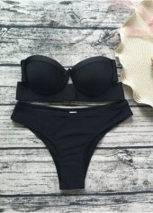 Angelsin Siyah Straplez Bikini Takım-4