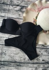 Angelsin Siyah Straplez Bikini Takım-5