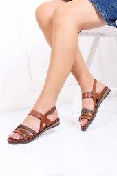 Tarçın Hakiki Deri Kadın Sandalet Ayakkabı Trc124 K1000