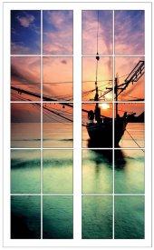 Pencere, Tekne, Günbatımı, Deniz Duvar Sticker