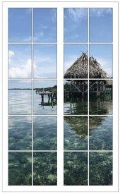Pencere, Deniz, Yüzen Ev Duvar Sticker