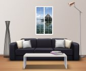 Pencere, Deniz, Yüzen Ev Duvar Sticker-2